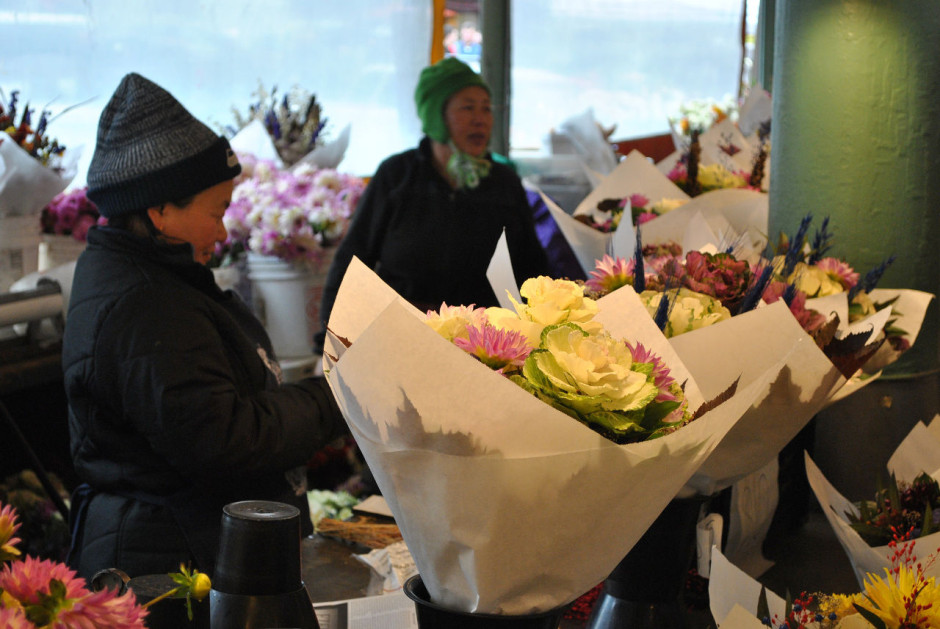 Flower sellers at Pike Place Market