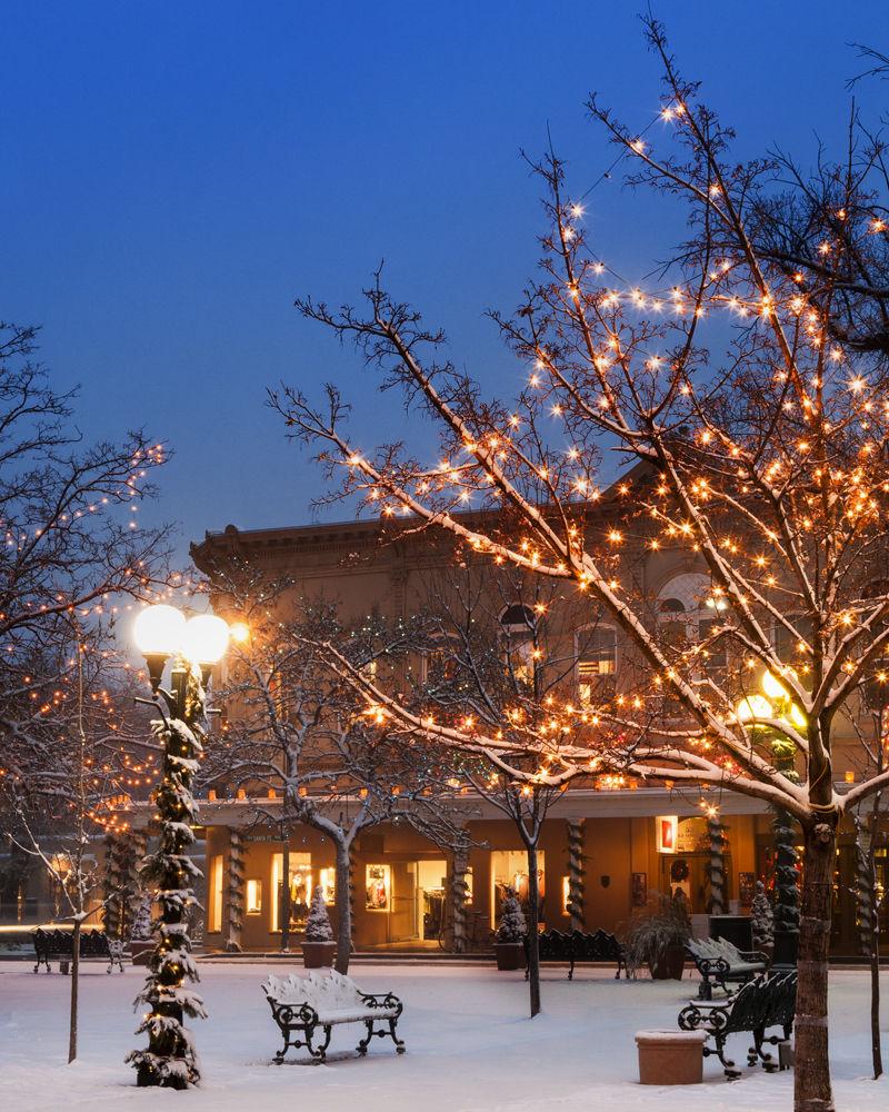 Santa Fe Plaza with fresh snow.