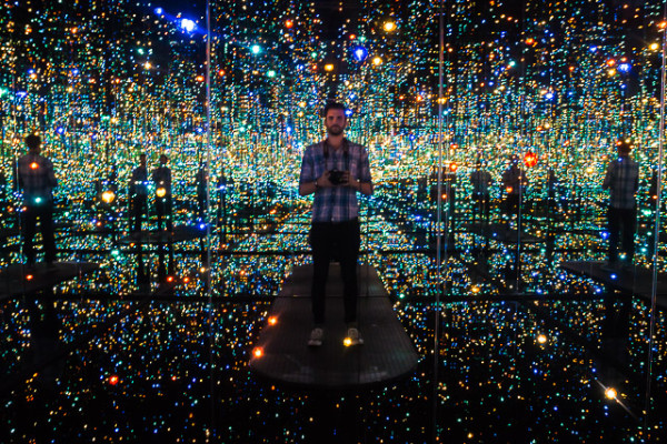 Inside the first primary installation of the Broad Museum of Contemporary Art: Yayoi Kusama's Souls of Millions of Light Years Away. The mirrored room is the first primary installation in the Broad Museum of Contemporary Art, which opened in September. There have been 50 new gallery openings in downtown Los Angeles in the last two years.