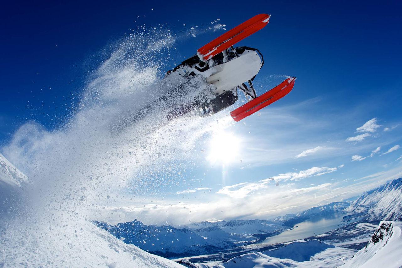 Snowmachine flying, Valdez
