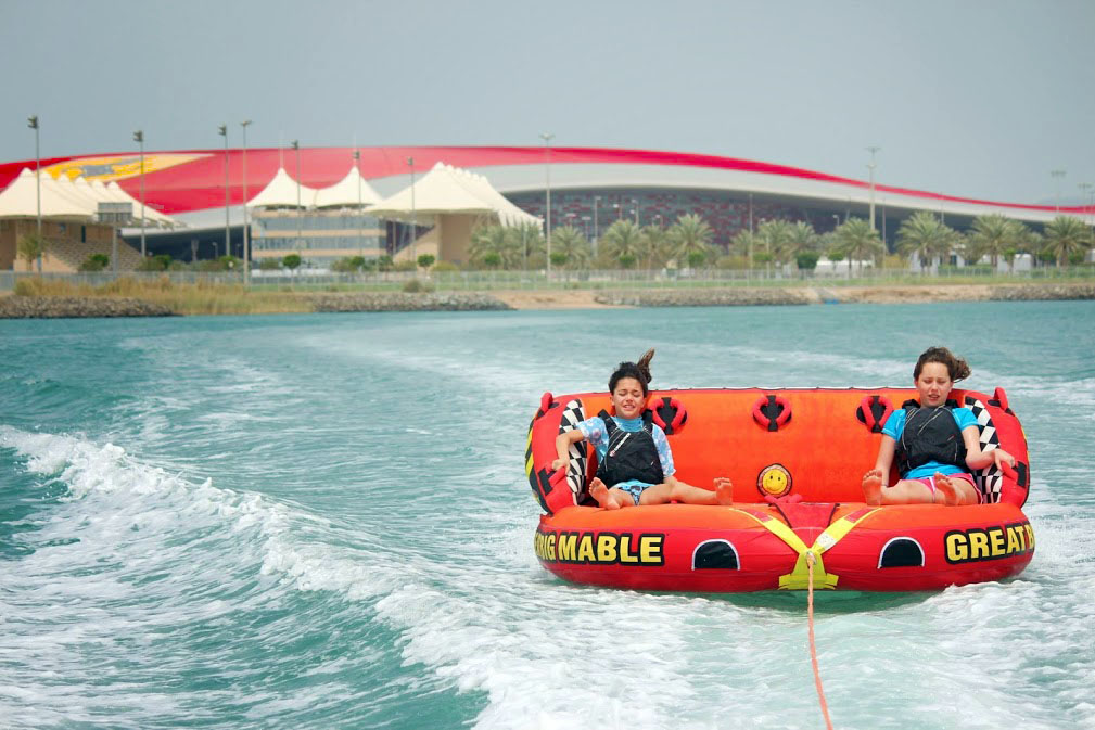Kids on the water in abu dhabi