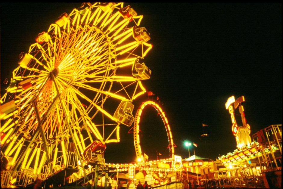 NC State Fair Wheel Lit up at Night