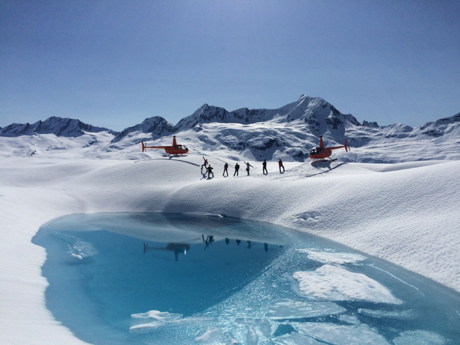 Glacial pool and helicopter