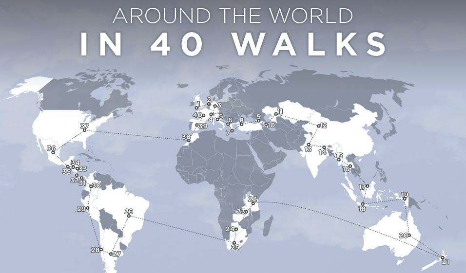 This infographic breaks down how to get around the world in 40 awesome hikes