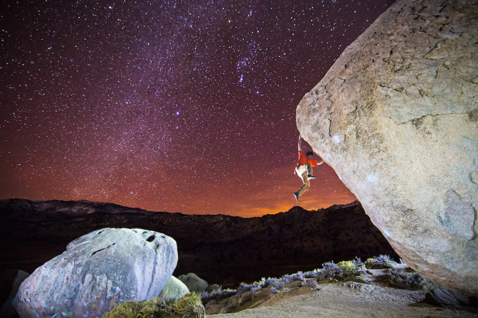 Charlie Barrett bouldering at the Buttermilks in Bishop, California.