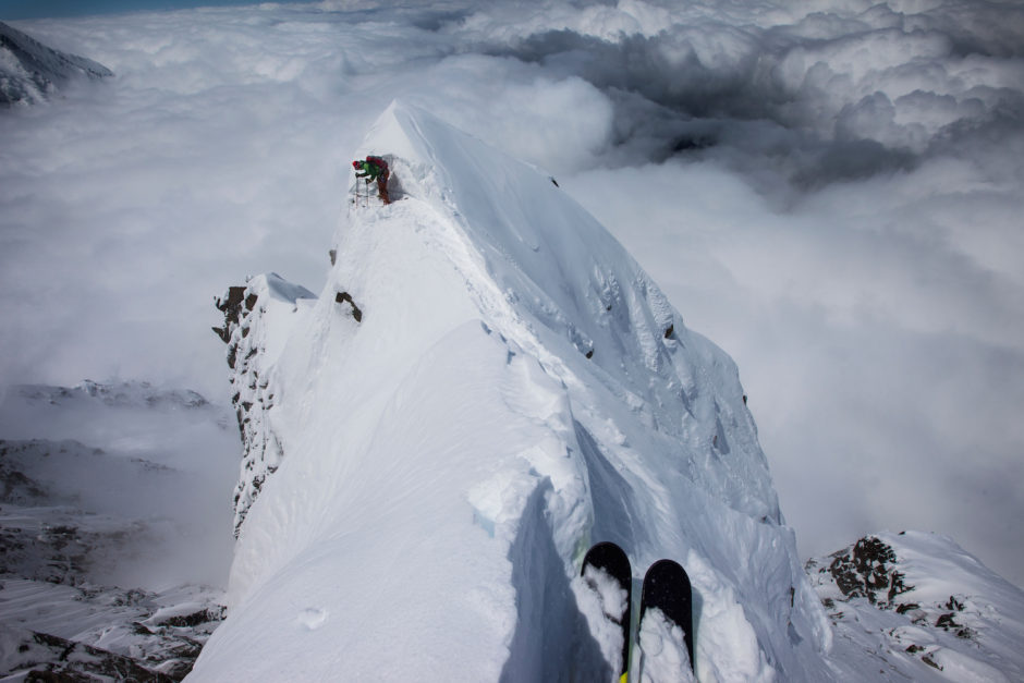 Dave Rosenbarger leads the way on a rare ski descent on the North Face of the Aiguille Du Midi in Chamonix, France