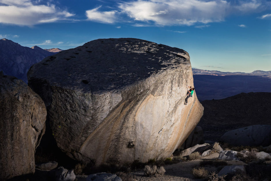 Lonnie Kauk enjoys an evening lap at the Buttermilks, CA. A world-class destination with its beautiful granite boulders, the Buttermilks attracts climbers and photographers from all over the world to experience its stunning beauty.