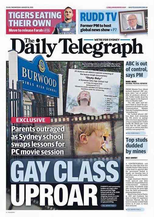 Photo: The Daily Telegraph in Australia, Aug. 26, 2015. GlobalPost