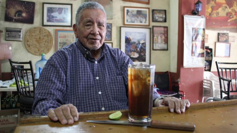 Ninety-something Javier Delgado Corona and his signature batanga cocktail in the town of Tequila, Mexico, about an hour outside Guadalajara. Photo: Monica Campbell/GlobalPost