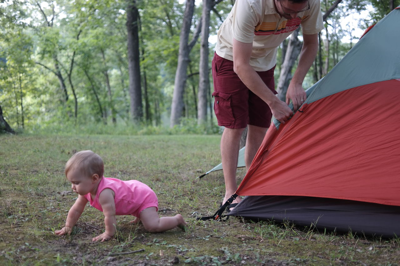 Baby and tent