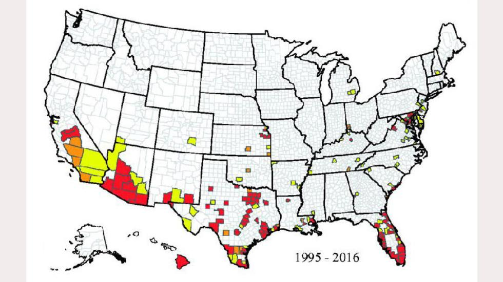 Red denotes findings of Aedes aegypti mosquitoes in at least three years during this time frame. Orange is two years, and yellow is a single year. White means they weren't found in any of those years. Map: The Center for Disease Control