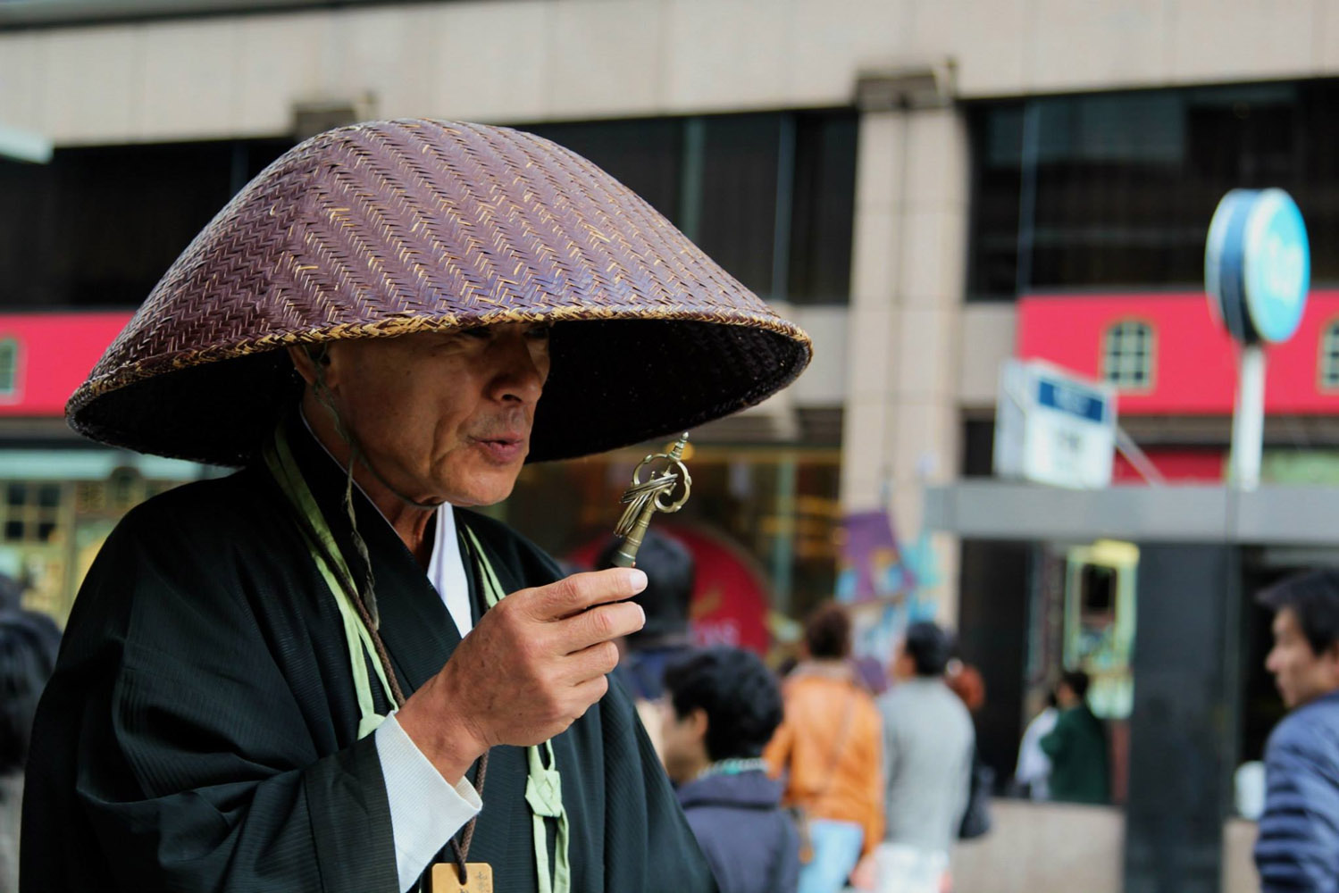 Zen Buddhist monk on the streets of Ginza, Tokyo
