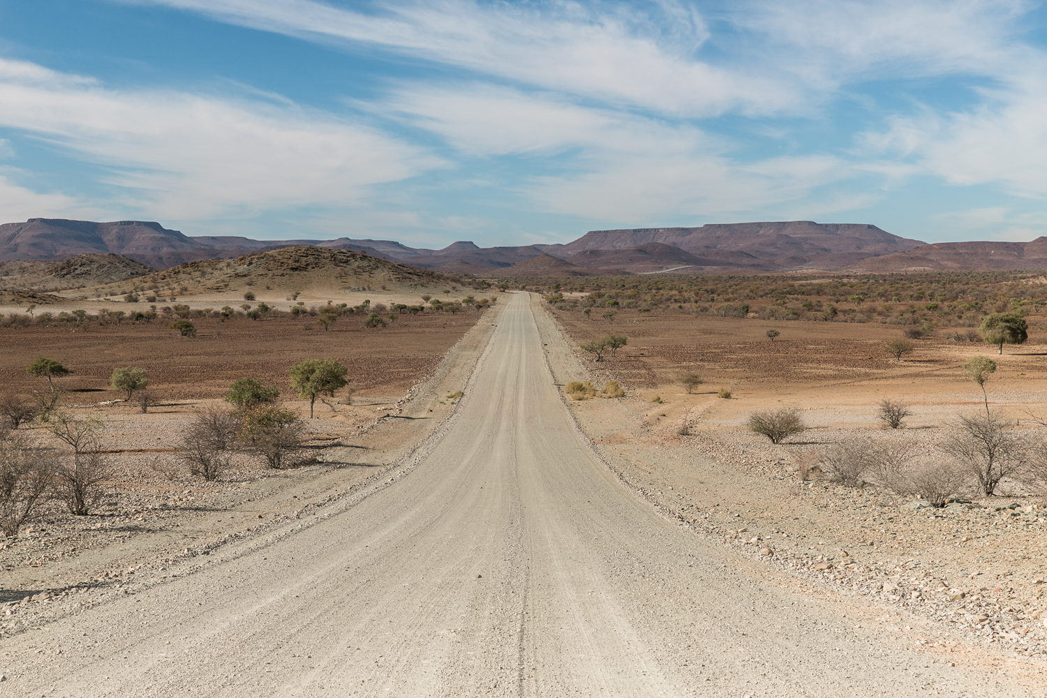 Endless road and sky in Damaraland