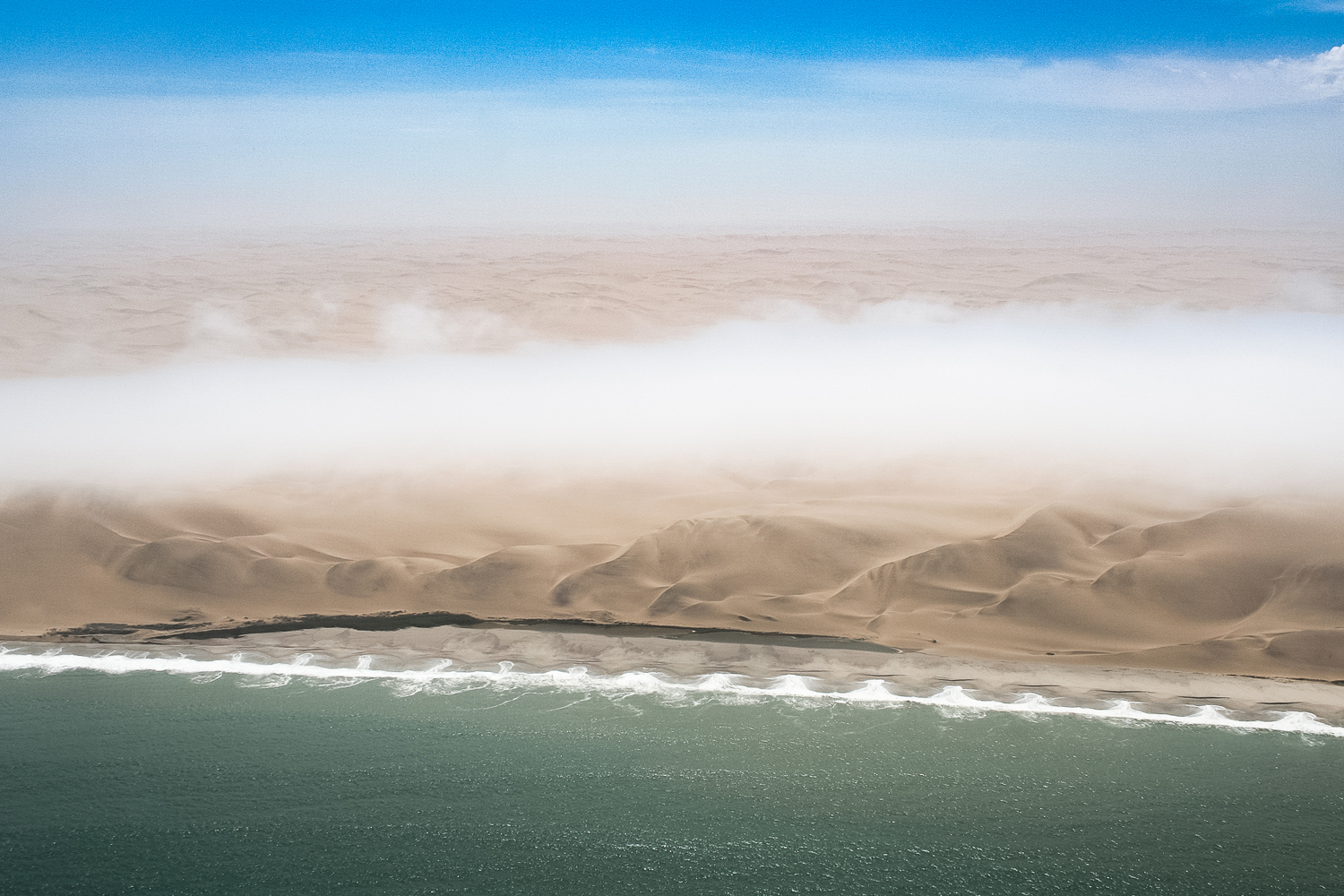 An aerial view of the Skeleton Coast