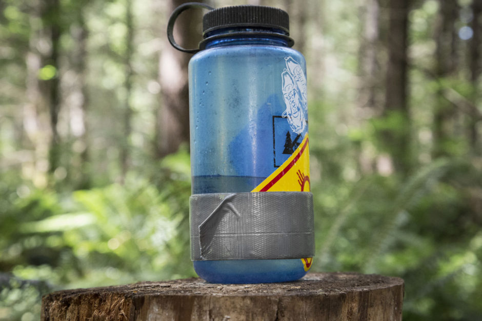 Duct tape on water bottle