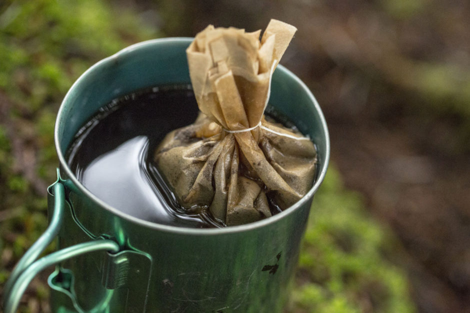 Camp coffee dental floss