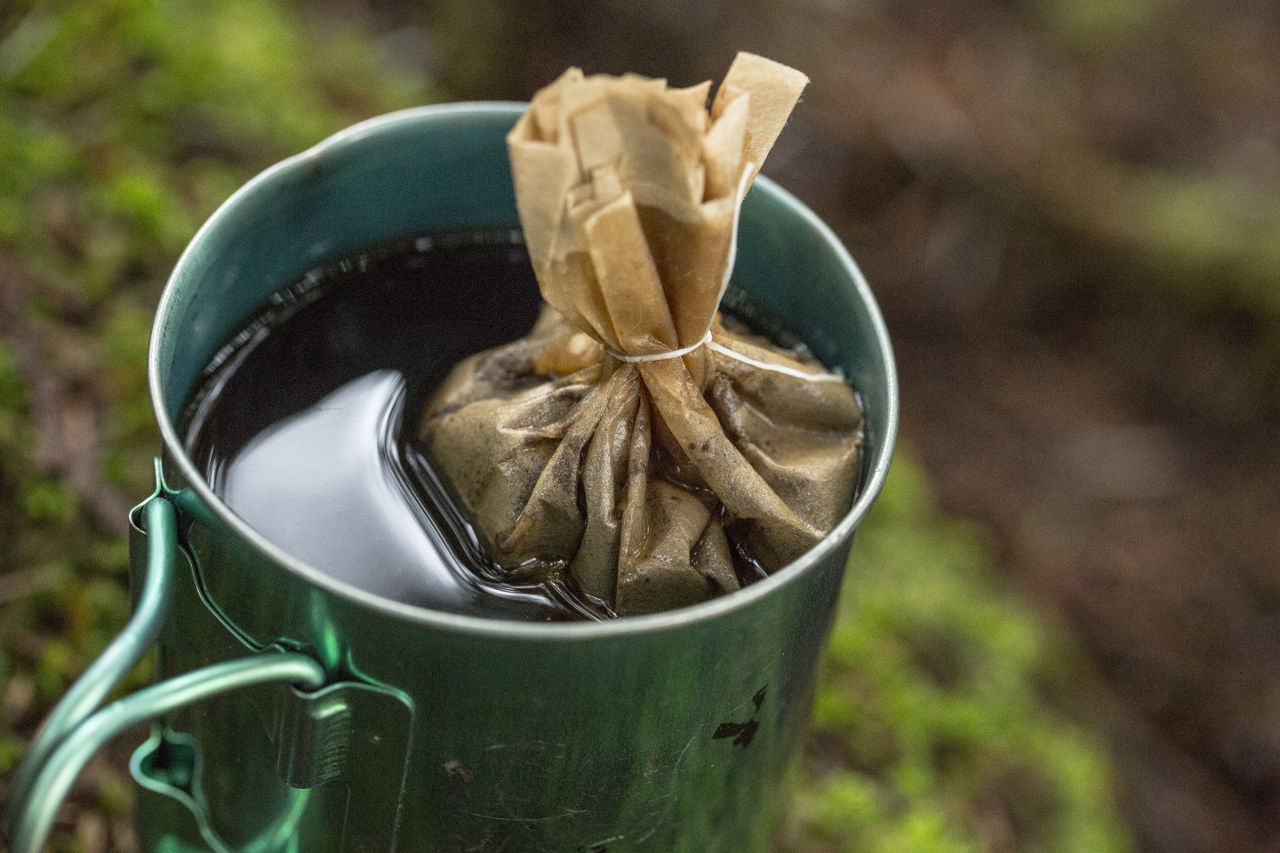 Camp coffee dental floss