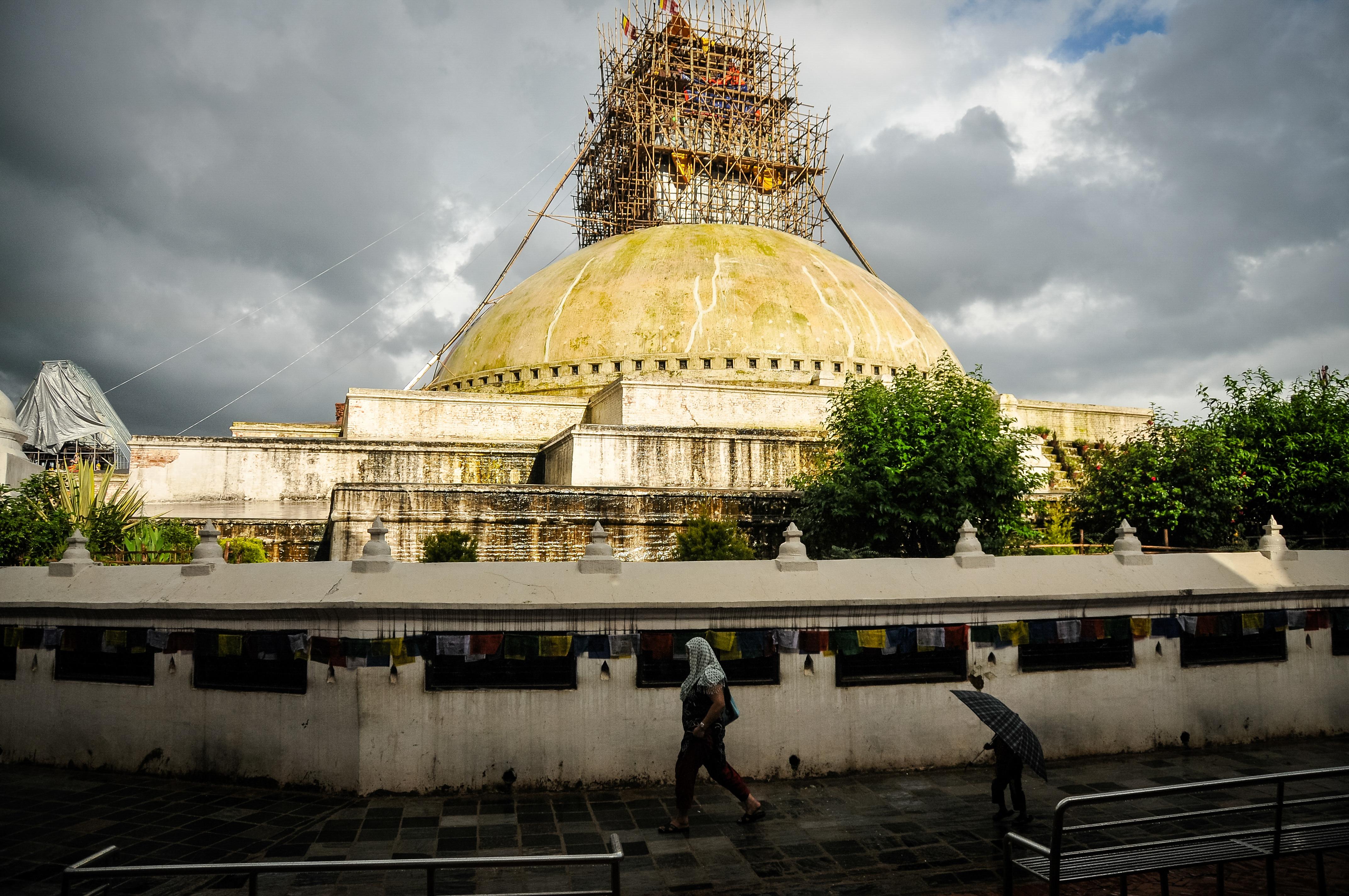 Boudhanath Stupa following late afternoon rain - Boudhanath, Kathmandu.