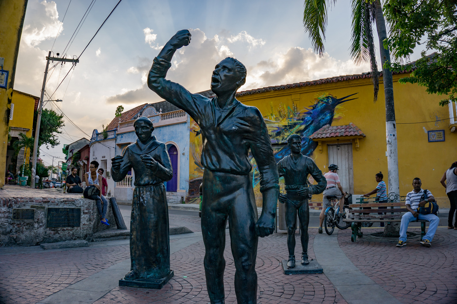 The statue of Pedro Romero, hero of Cartagena's independence movement, Plaza de la Trinidad, Getsemani, Cartagena.