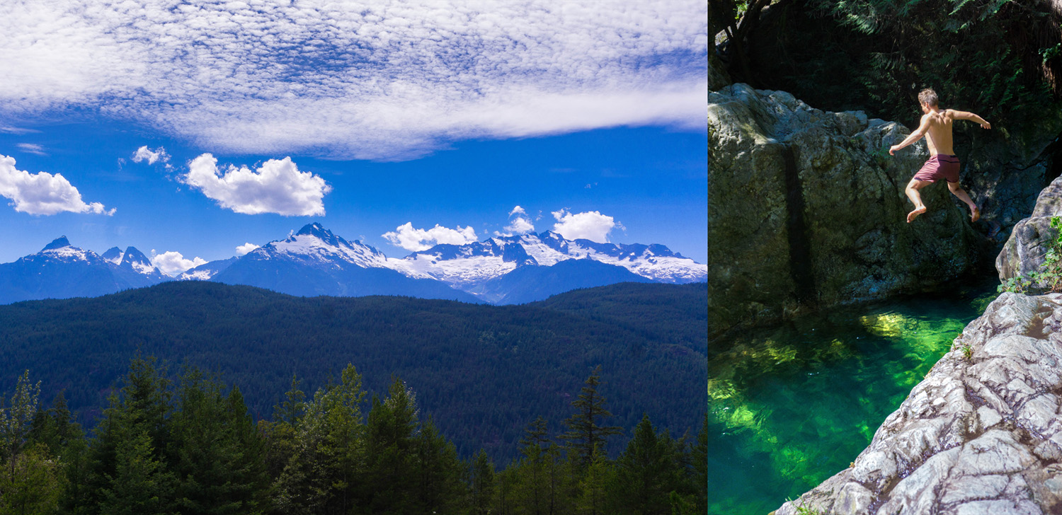 The Sea-To-Sky Highway has some insanely gorgeous views, pull over and get out to breathe it all in. Just east of North Vancouver there are some lovely hiking trails in Lynn Canyon Park that lead to what's called the 30 Foot Pool. A rock heaven filled with clear, freezing water—jump in for a brisk awakening!