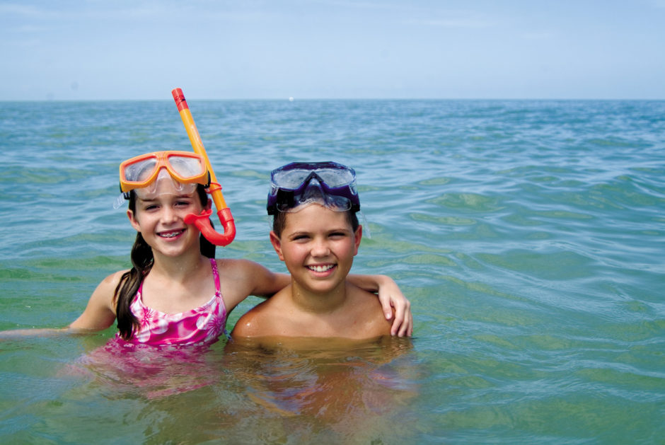 Kids snorkel Florida beach