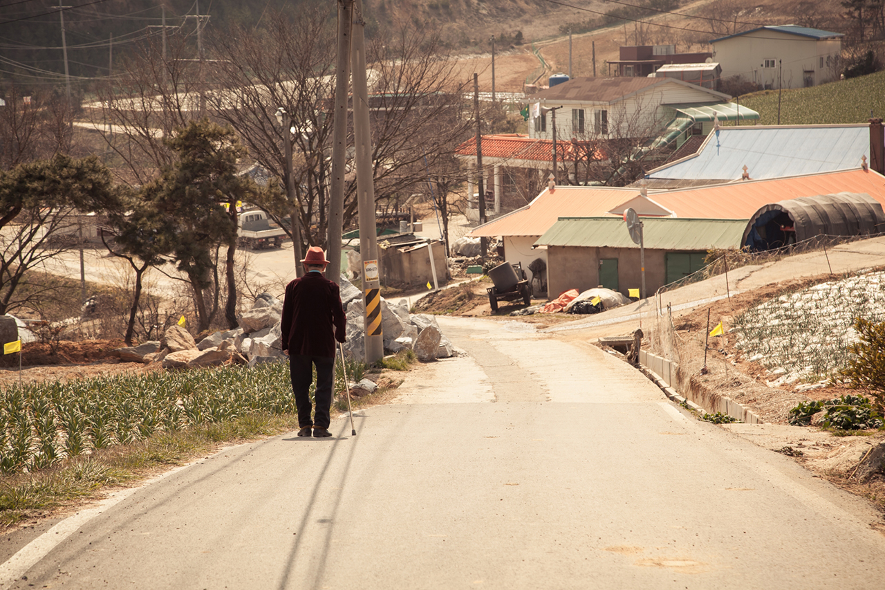 Stylish octogenarian strolls down a country lane – Ho-ri peninsula, Seosan