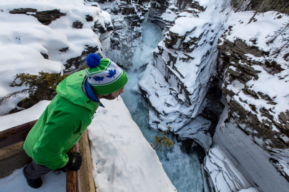 Athabasca Falls in winter Jasper don't re use