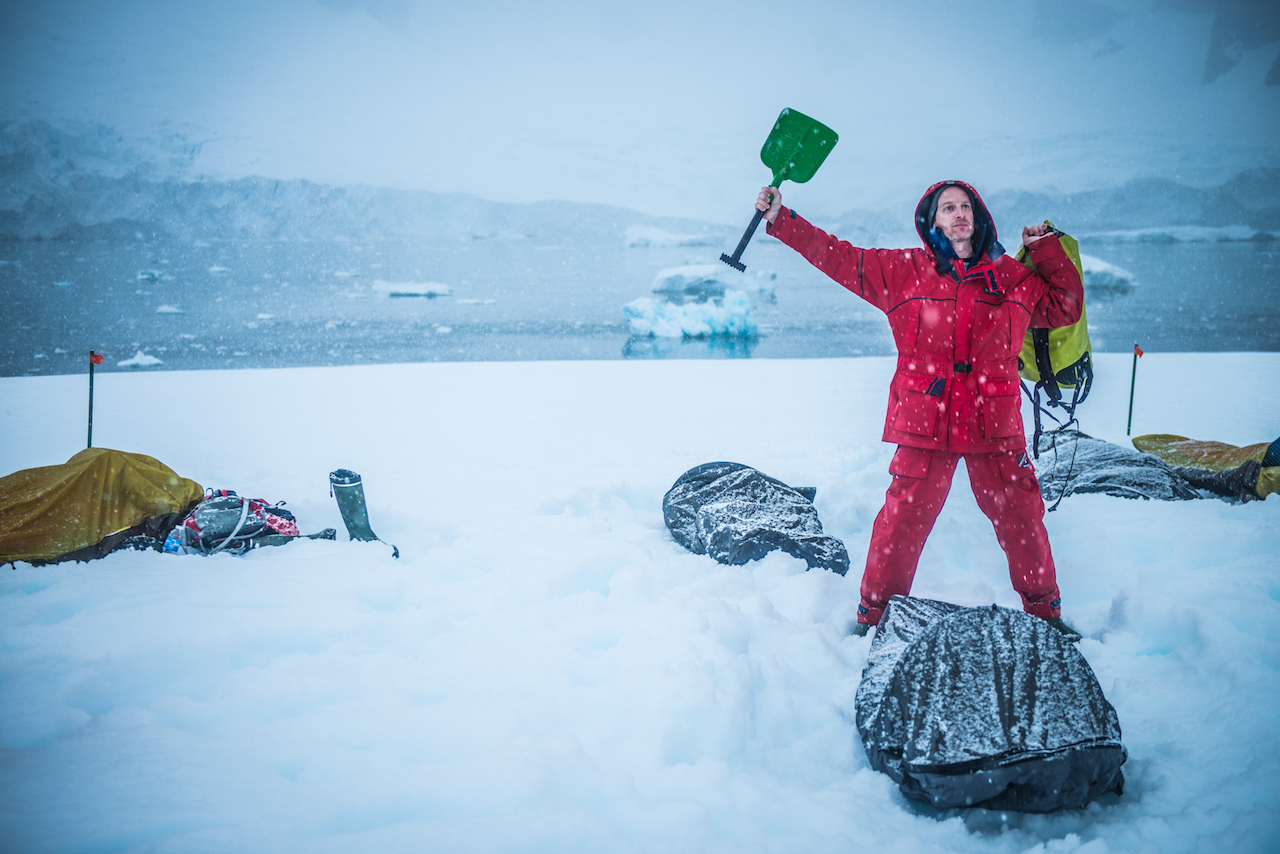 Robin camping on Antarctic ice. Photo by Jeff Topham.