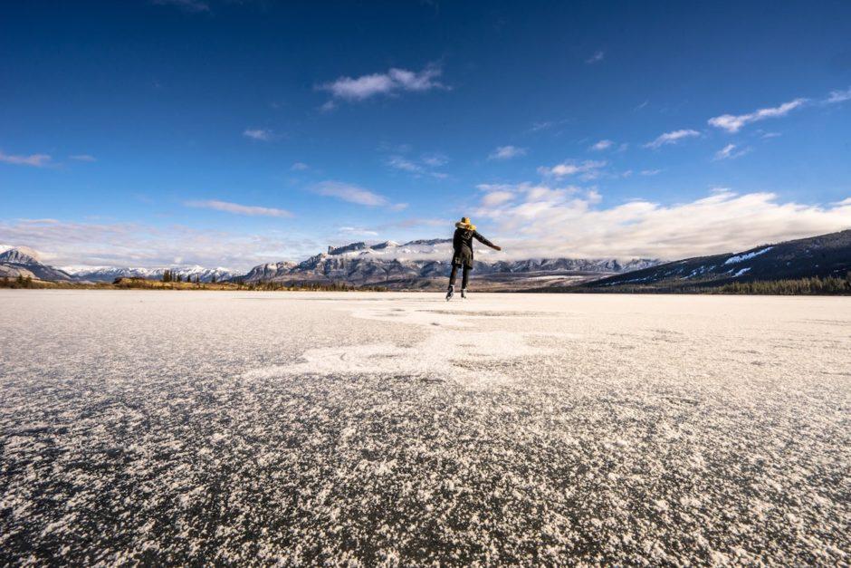 Skating in Talbot Lake Jasper