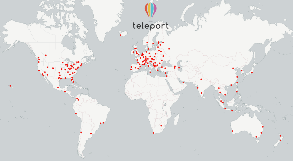 Cities covered by Teleport's service. Image credit: Teleport