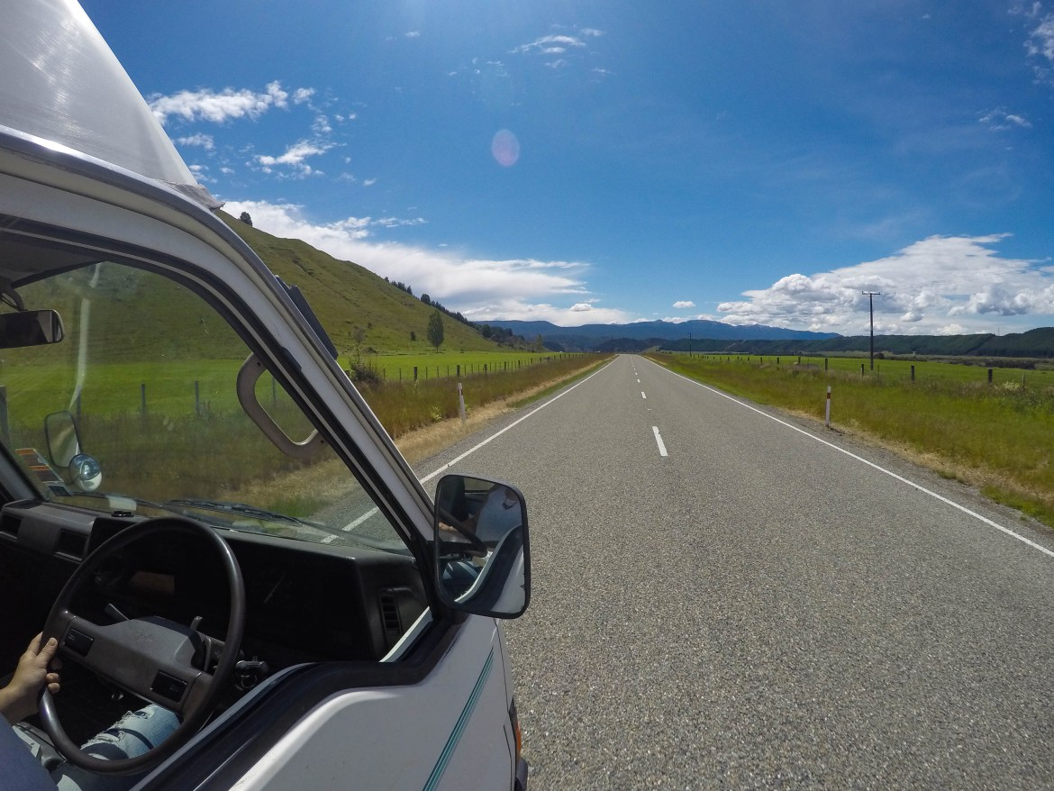 View outside van in New Zealand
