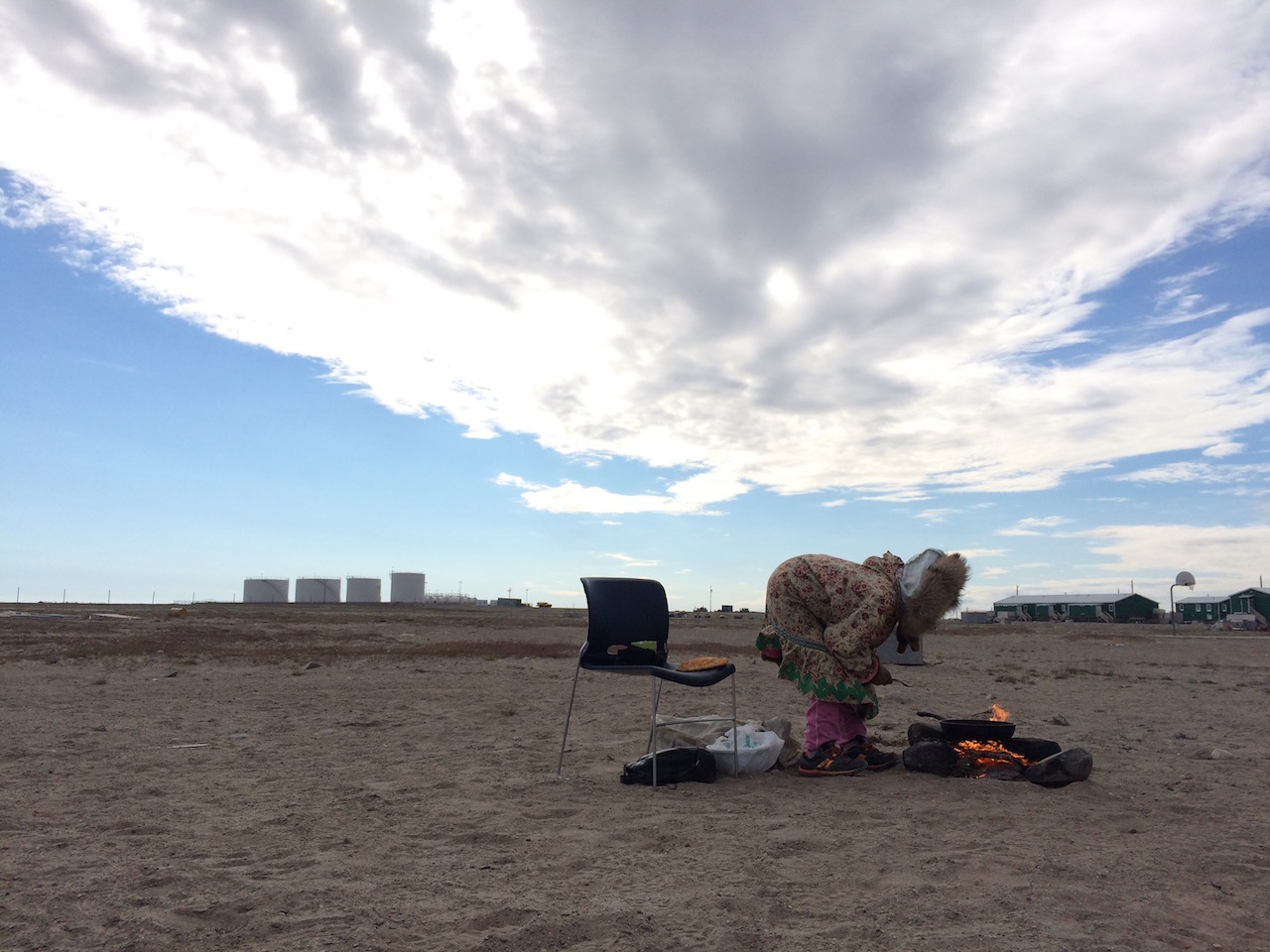 Elder Woman making bannock – Gjoa Haven