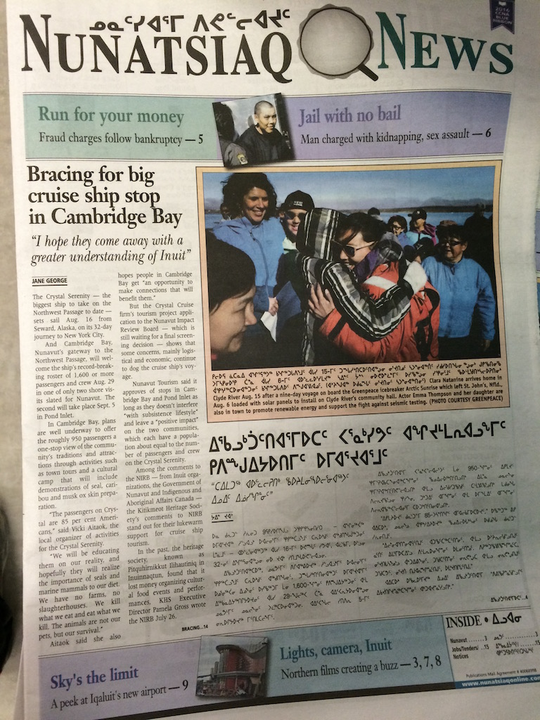 Newspaper in Cambridge bay covering news on the Crystal Serenity cruise ship
