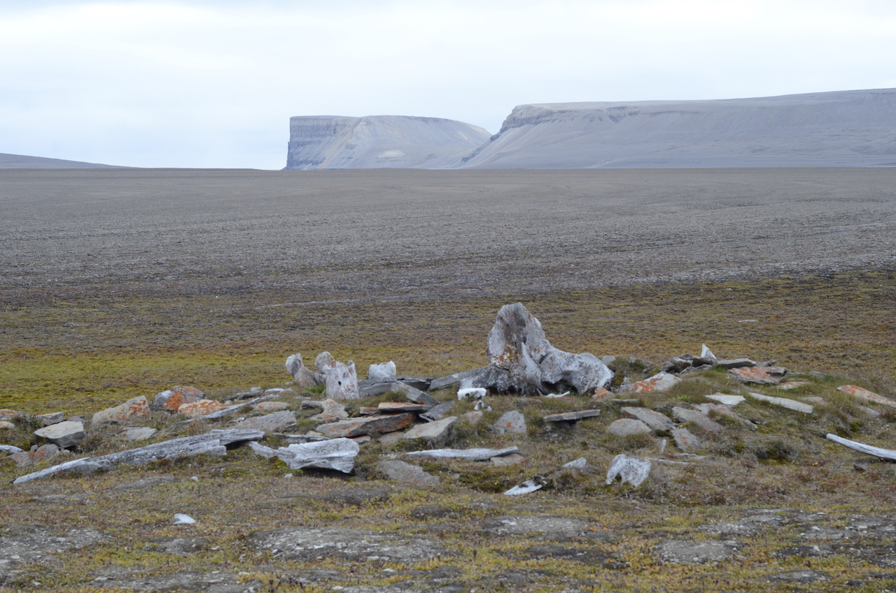 Thule dwelling archaeological site, made of bowhead whale bones