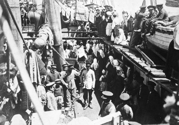 Doukhobors on a ship to Canada, 1898. Credit: Doukhobors / Library and Archives Canada / C-005208