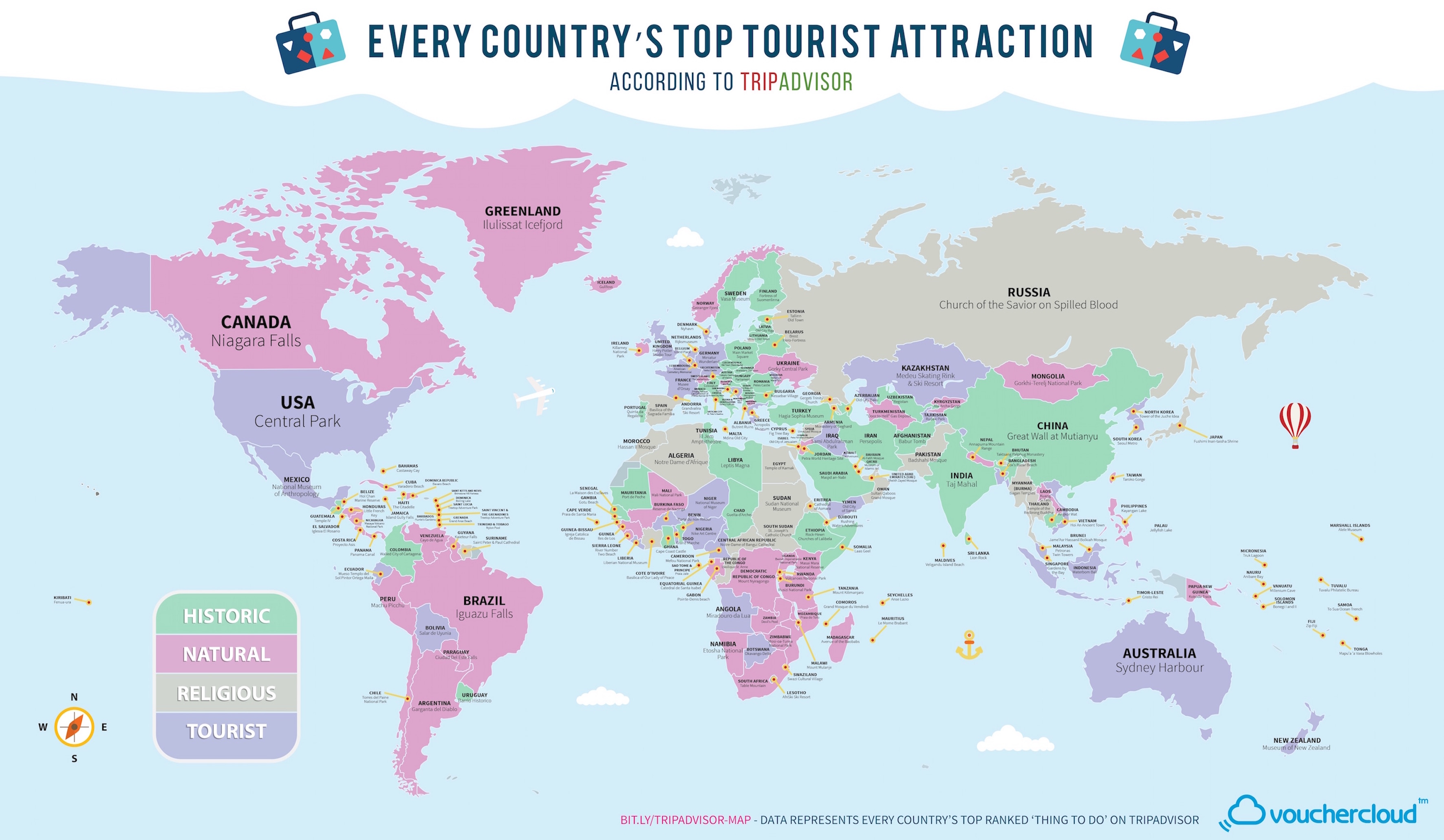 This map has the most popular tourist attraction of every country – Panama Tourist Attractions Map