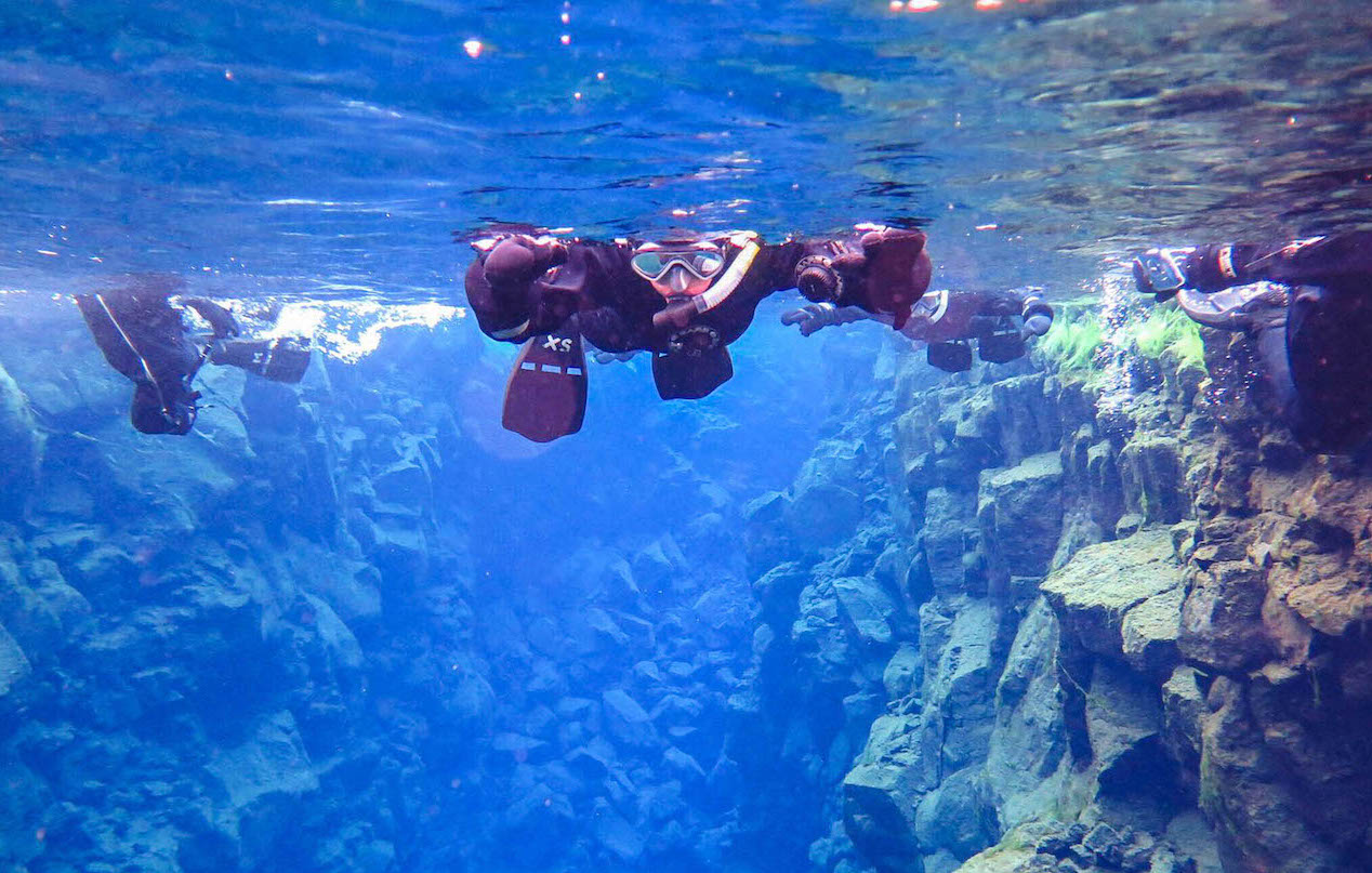 diving between tectonic plates in iceland