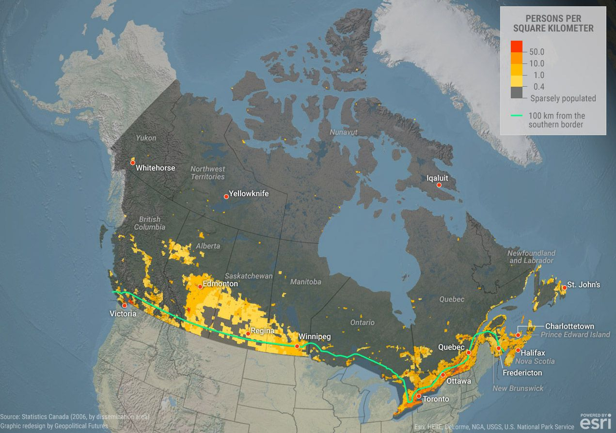 Map Of Canada Population Density.Where Does Everyone Live In Canada Check Our Map To Find Out