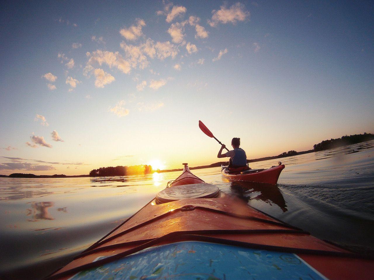 Finland kayak paddling