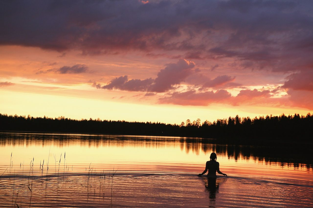 Finland lake midnight sun