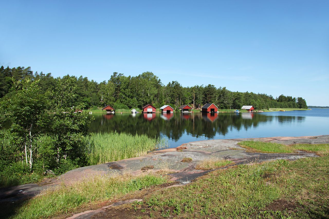 Houses and boats on Aland islands, Finland
