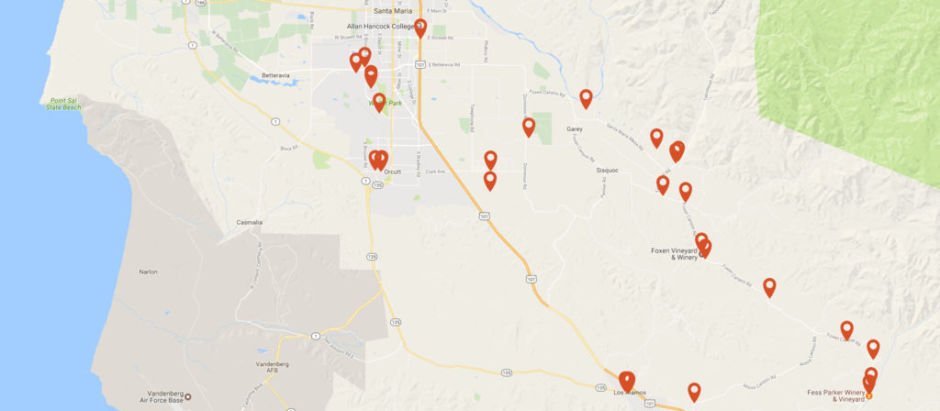 Santa Maria Valley wine map