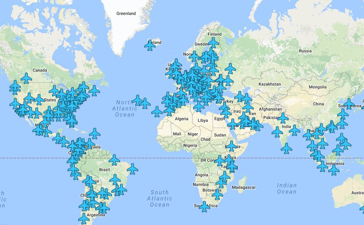 Check Out This Map To Know All The Wireless Passwords In Airports - World airports map