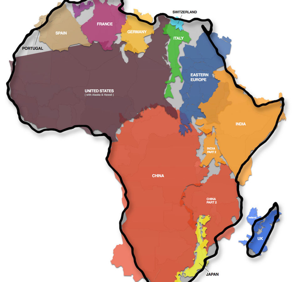 This map shows the actual size of africa and it is mind boggling gumiabroncs Gallery