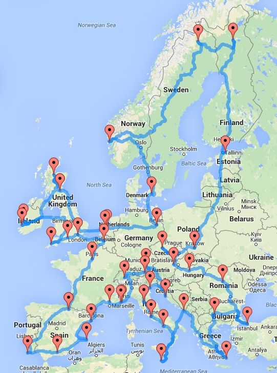 the ultimate road trip around europe in one cool map