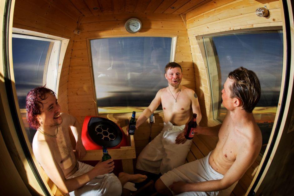 sauna situado en una góndola