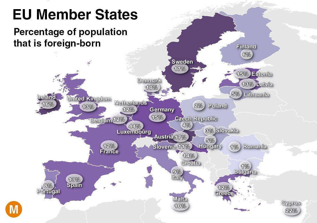 Map of those living in the European Union who were foreign-born