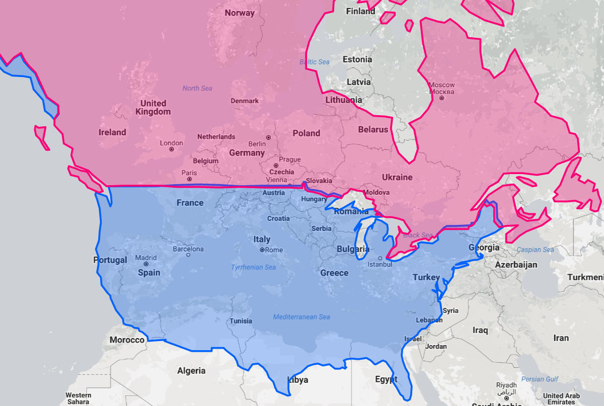 Real Map Of The United States.What City In Europe Or North America Is On The Same Latitude As Yours