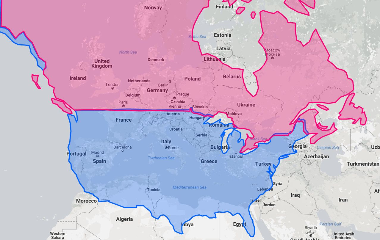 City In Europe Or North America Is On The Same Latitude As Yours - United states and canada map