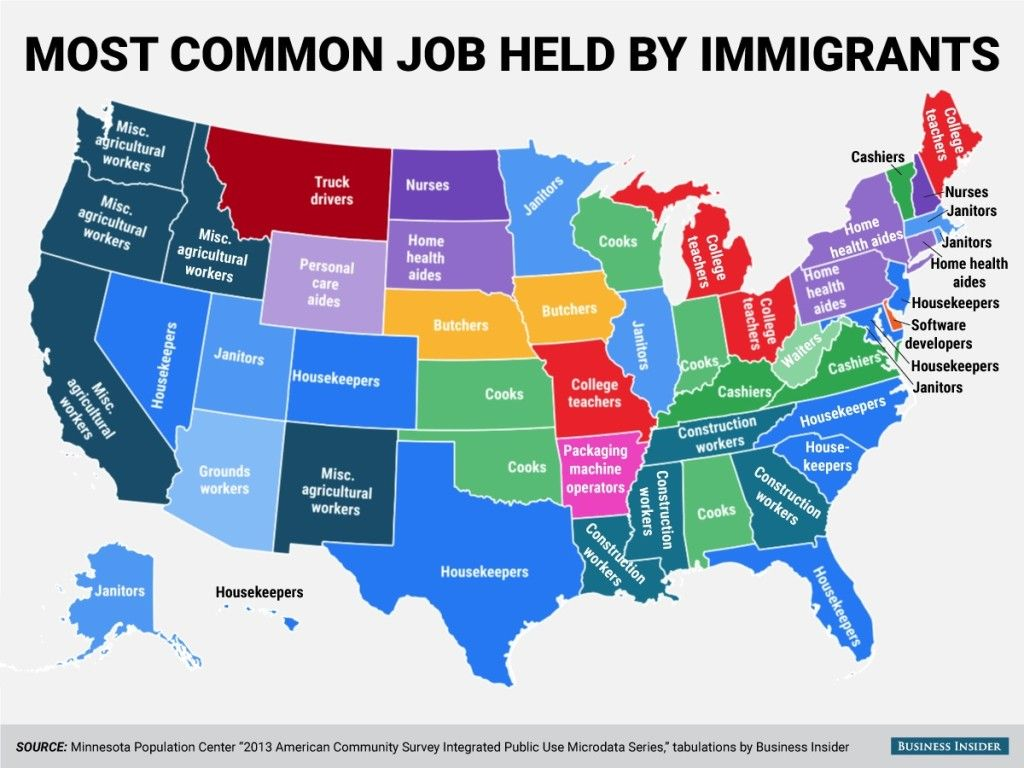 What are the most common jobs held by immigrants in the US?